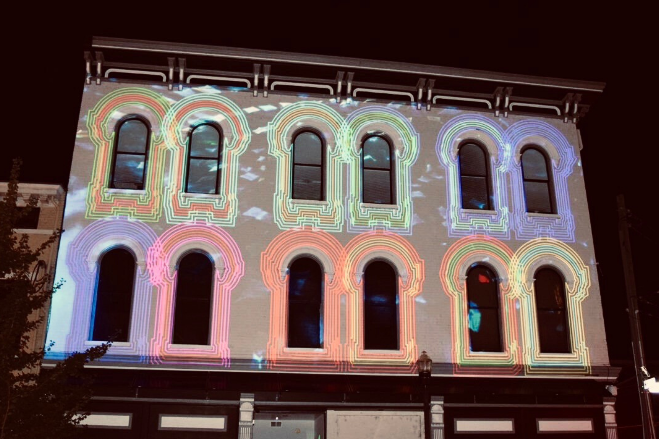 Building with light projections.