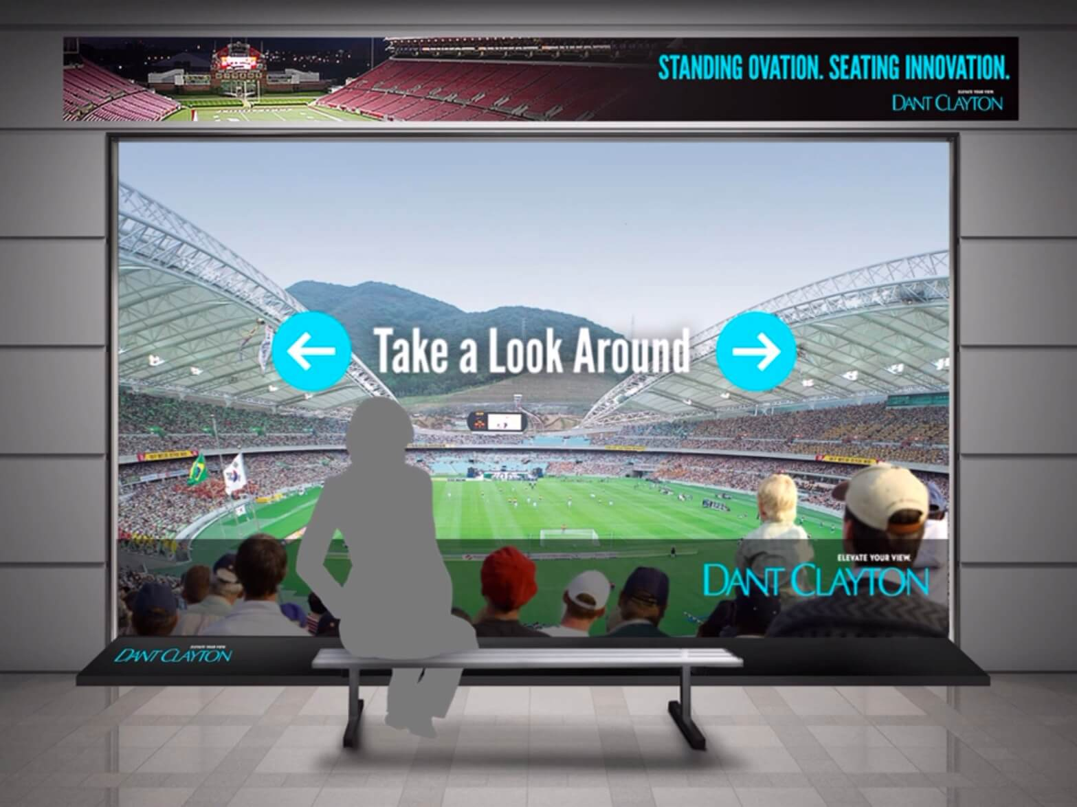 An architectural mockup of a Dant Clayton interactive kiosk