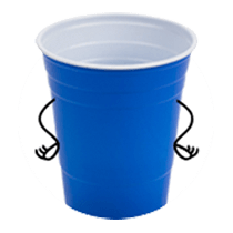 A blue plastic cup with arms drawn on